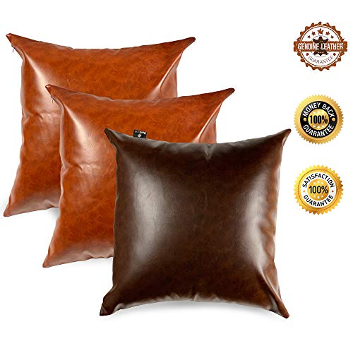 Oriental Goodpick - Special Edition Faux Leather Pillow Covers - 18x18 Inch Set of 3 - Modern Look Decorative Tan Pillows for Sofa, Couch - 2 Brown, 1 Dark Brown Body Cover Case (Oriental Sets Sofa)