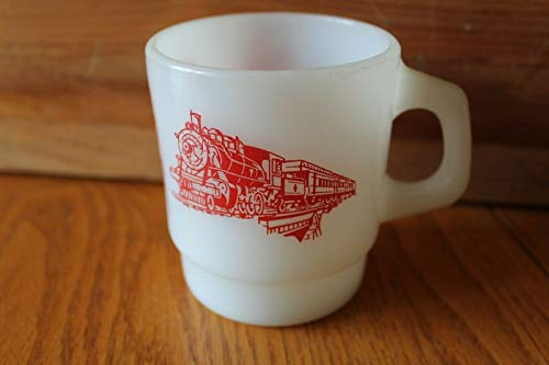 (Milk Glass Mug Cup The Valley Railroad Company Connecticut Valley Line Vintage)