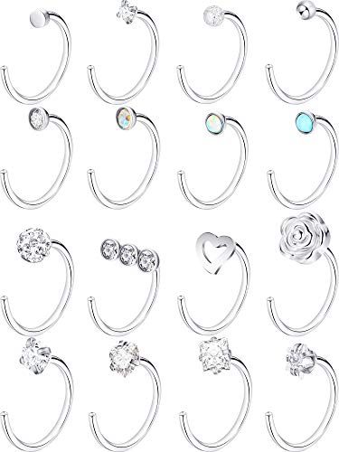 Jovitec Stainless Steel Nose Stud Set Steel Nose Ring Rose Ball Labret Body Piercing Jewelry for Party Wear or Clothes Matching, 20 G (16 Pieces, C Shape)