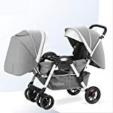 XUE Twin Baby Stroller, Second Child Double Child Lightweight Folding Can Sit Reclining Twin Baby 0-4 Years Old Can Enter The Elevator Connect Travel System Stroller