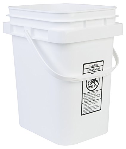 Hudson Exchange 5 Gallon Rectangular Bucket, PP, White