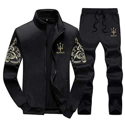 - Lavnis Men's Casual Tracksuit Long Sleeve Full-zip Running Jogging Sports Jacket And Pants Black 2XL