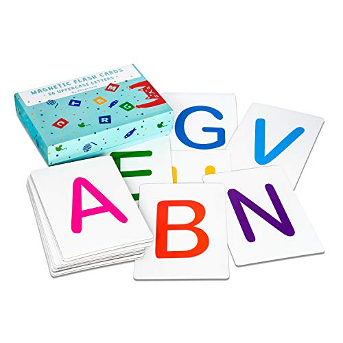 Attractivia Magnetic Alphabet Flash Cards - 26 Uppercase Large Letters - for Educators, Parents, ESL