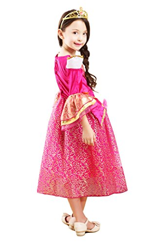 [YMING Girls Pink Princess Cosplay Dress Halloween Sleeping Beauty Costume 7-8 Years] (Flower Zombie Costumes For Girls)