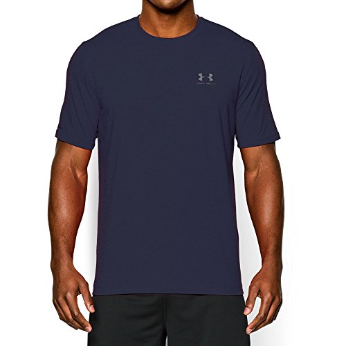 Steel Stretch Shirt (Under Armour Men's Charged Cotton Sportstyle T-Shirt, Midnight Navy/Steel, Large)