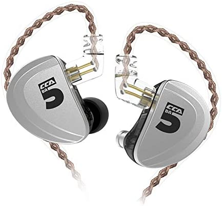 CCA A10 in Ear Monitor 5BA HiFi Stereo in-Ear Earphone, Pure Pure 5 Balanced Armature Drivers Headphones High Fidelity CCA IEM Headset Silver no Mic