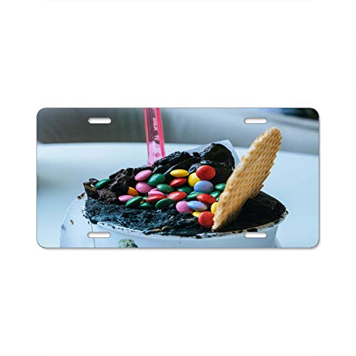 Filled White Chocolate - Gndishangd White Container Filled with Chocolate, Assorted-Color Chocolate Chips, and One Waffle License Plate Decorative Front Plate 6 X 12
