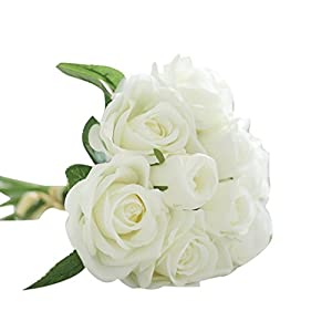 Clearance Floral Bouquet,Han Shi 9 Heads Artificial Silk Fake Flowers Leaf Rose Wedding Decor (L, White) 119