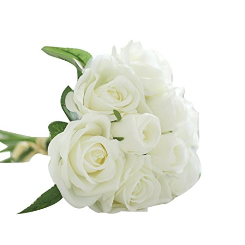 Clearance Floral Bouquet,Han Shi 9 Heads Artificial Silk Fake Flowers Leaf Rose Wedding Decor (L ...