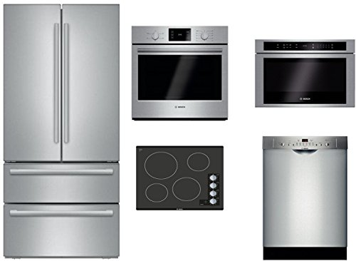 "Bosch 5 Piece Stainless Steel Kitchen Package with B21CL81SNS 36"" French Door Refrigerator, NEM5466UC 24"" Electric Smooth Cooktop, HBL5351UC 30"" Single Wall Oven, HMD8451UC 24"" and SHS863WD5N"
