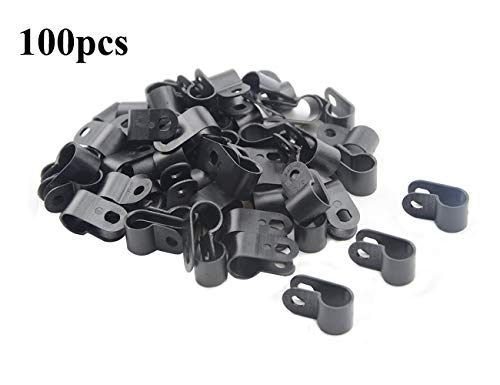 TOVOT 100 PCS Black Nylon Screw Wire Clips R-type Clip Cable Clamp Fasteners Tubing Clips 3/8 Inch (9 mm) for Wire Management