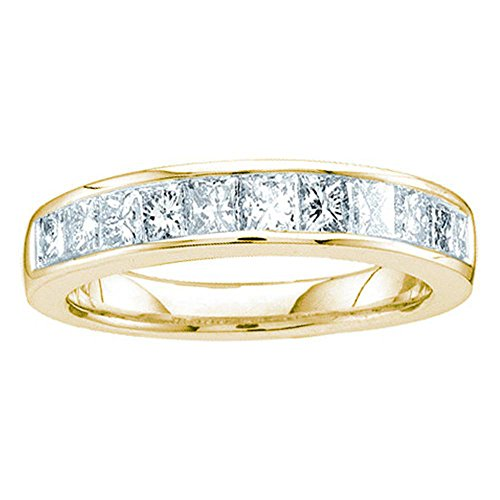 Sonia Jewels Size - 9-14k Yellow Gold Princess Cut Channel Set Eleven Diamond Ladies Womens 11 Stone Wedding or Anniversary 3mm Ring Band (1/2 cttw)