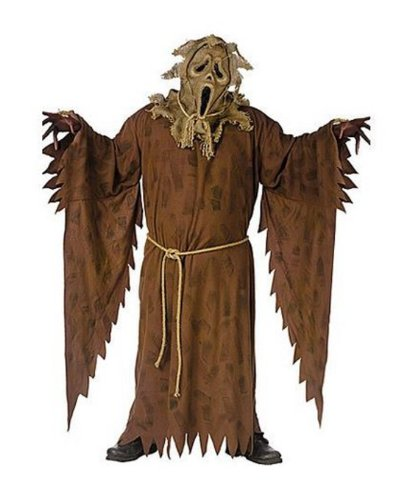 [Adult Ghost Face Scarecrow Costume Plus Size] (Scarecrow Adult Plus Costumes)