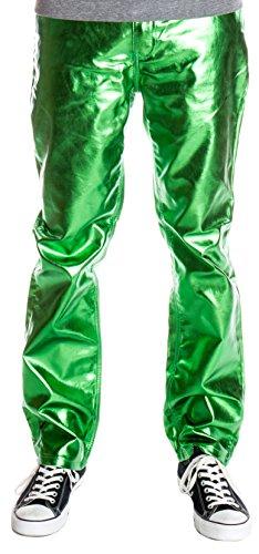 - Ragstock Men's Metallic Shiny Jeans, Green-36