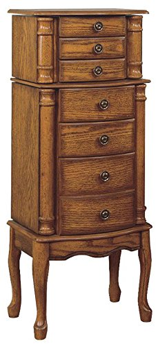 Amazoncom Powell Woodland Oak Jewelry Armoire Kitchen Dining