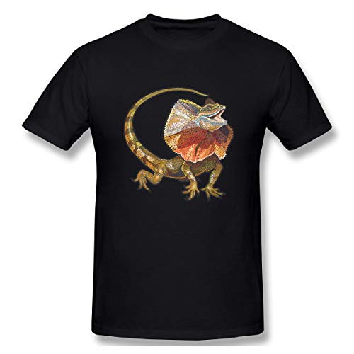 Lotus-flower Frilled-Neck-Lizard-Neck-Frill-Reptile-Lizard-Vector Leisure and Fun Pure Cotton Black 3XL Short Sleeve T-Shirt