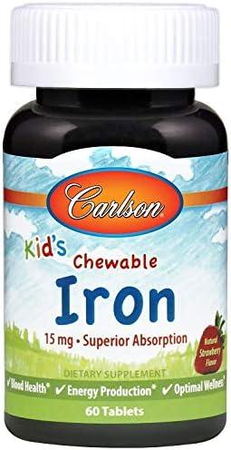 Carlson Labs Niños Masticable De Hierro, 15 Mg De Fresa 60 Unidades 90 g