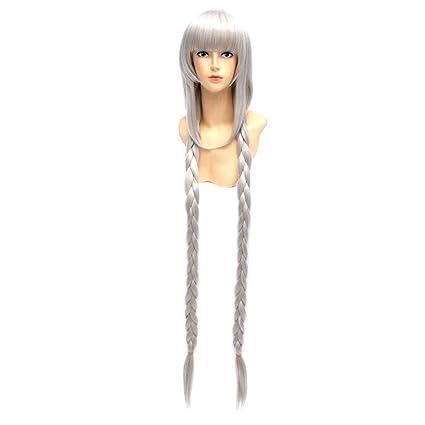 Baisheng Daily Wild peluca plateada dos trenzada cola de caballo largo Cosplay disfraces disfraces peluca de