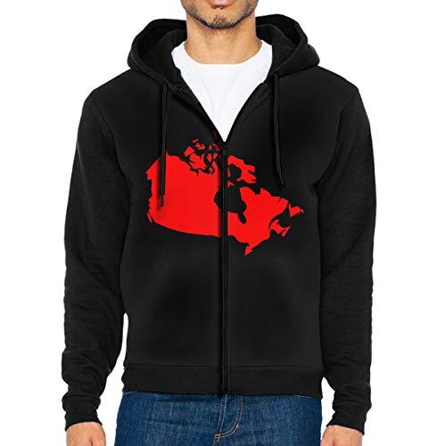 LD6DBGK Canada Map Men's Zip Front Hooded Fleece Winterwear Black