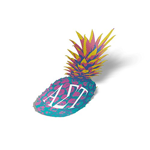 Alpha Sigma Tau Pop Art Pineapple Sticker 5 Inch Tall Sorority Decal Greek Letter for Window Laptop Computer Car - Tau Sigma Phi