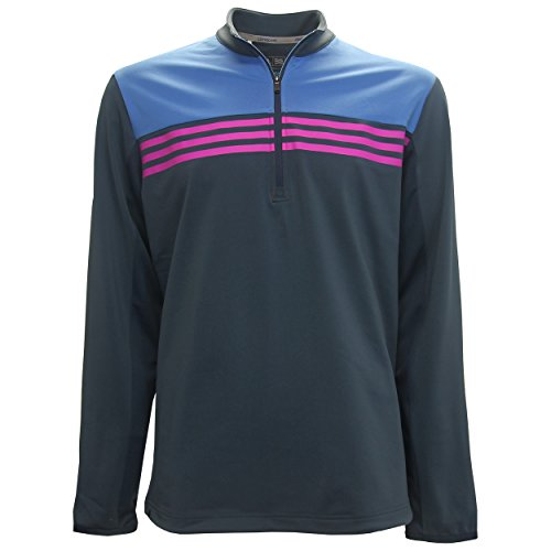 adidas Golf Men's Climacool Color Block 1/4 Zip Layering Top, Mineral Blue/Ray Blue/Flash Pink, (1/4 Zip Color)