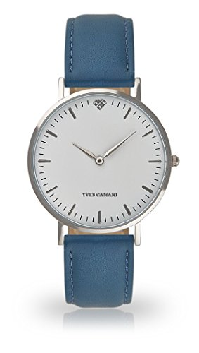 YVES CAMANI Amelie Women's Wrist Watch Quartz Analog Light Blue Leather Strap White Dial YC1097-A-731