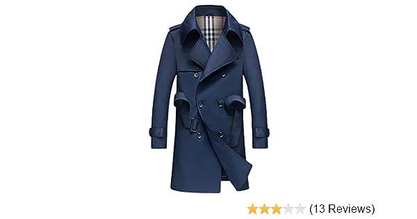 eec51c5198 Lende Men's Slim Double Breasted Trench Coat Long Jacket Overcoat Outwear  (XXL, Navy) at Amazon Men's Clothing store: