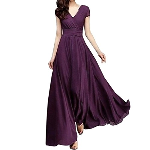 70029780b8e6 Beautyfine Fashion Women Elegant Chiffon Evening Party Long Dress V-Neck