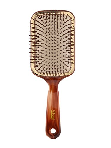 Roots Hair Brushes - Golden Rim Shell Finish Paddle Hair Brush Brown (Rim Paddle)