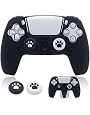 BRHE PS5 Controller Skin Grip Cover Anti-Slip Silicone Protector Rubber Case Cute Kawaii Accessories Set Gamepad Joystick Shell with 2 Thumb Grip Caps(Half Covered, Black)
