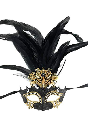 Classic Vintage Venetian Grand Swan Mask Design Laser Cut Masquerade Mask for Mardi Gras Events or Halloween - Black w/ Decorative Feathers