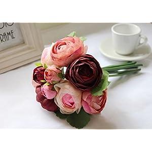1 Bundle Rose Wedding Bridal/bridesmaid Bouquets Artificial Fabric Flowers Wine 2
