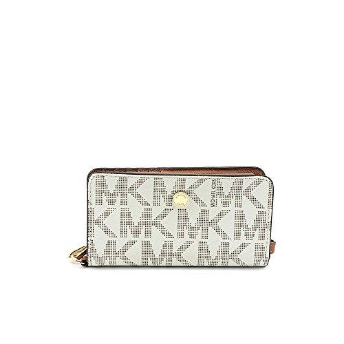 Michael Kors MK Sig Saffiano Vanilla Lugg Slim Tech Wristlet