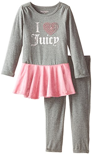 Heart Juicy Couture Girls - Juicy Couture Little Girls' Pink Tunic and Leggings, Gray, 4T