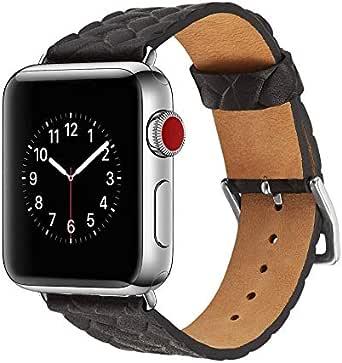سوار ساعة جلد بقري خاص لساعة أبل بسوار ساعة 42 ملم iWatch Accessories أسود-bt