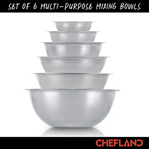 ChefLand Set of 6 Standard Weight Mixing Bowls, Stainless Steel, Mirror Finish, 0.75, 1.5, 3, 4, 5, and 8 Qt. (Mixing Bowl Set Of 6) by ChefLand (Image #6)