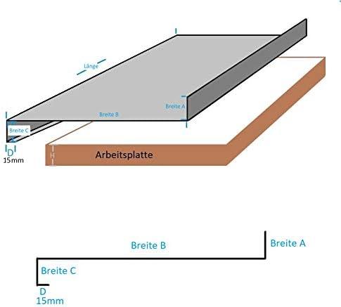 Edelstahl Arbeitsplatte 0,8mm Abdeckplatte Edelstahltisch CNS Abdeckung Falz