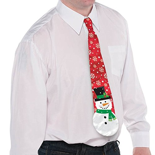 Amscan Fun-Filled Christmas and Holiday Party Snowman Men's Tie, Red, Fabric, 4 1/2