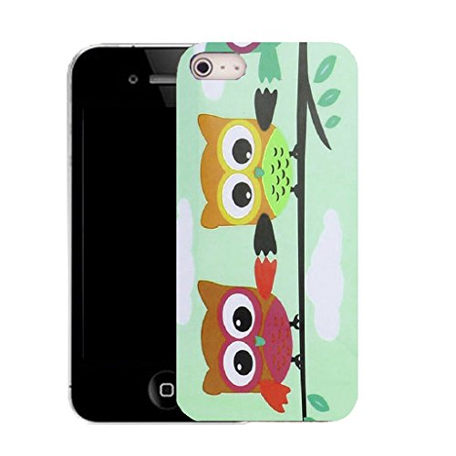 Mobile Case Mate IPhone 4s clip on Silicone Coque couverture case cover Pare-chocs + STYLET - branched joining owls pattern (SILICON)
