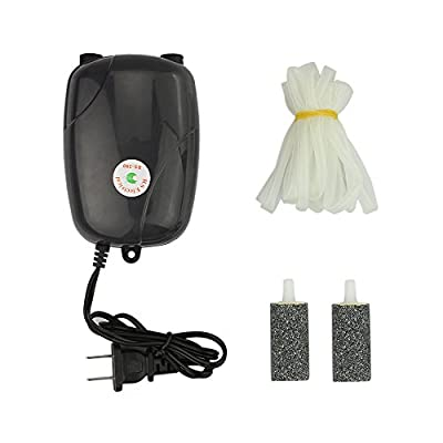 Lineba Low Noise Aquarium and Fish Tank Oxygen Air Pump with 2 Air stones 78 Inches Silicone Tubes