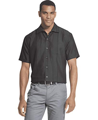 Van Heusen Men's Big and Tall Air Short Sleeve Button Down Poly Rayon Stripe Shirt, Black, 3X-Large