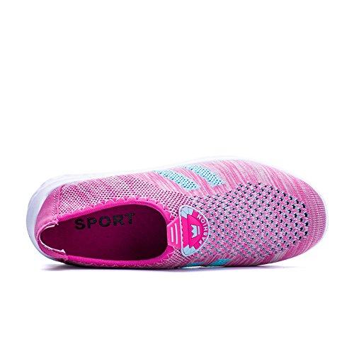 Eagsouni Casual Damen Herren Sport Schuhe Turnschuhe Frühlings Sommer Outdoor Sports Sandalen Knit Mesh Atmungsaktive Sneaker Fitnessschuhe Unisex Couple 35-44 Rose
