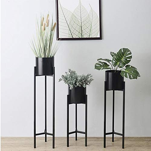 BENCONO 3 Sets of Iron Flower Stand Floor Triangle Pot Rack European Style Simple Flower Stand Home Flower Stand Gold Black (Color : Black) by BENCONO