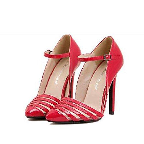 L@YC Frauen hohe Abs?tze Fr¨¹hjahr und Herbst und Winter bequeme Schuhe Zehen High Heels Hochzeit Schuhe Kleid Pumpen Red