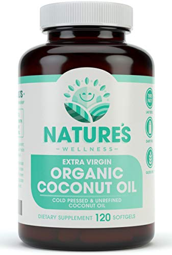 Organic Coconut Oil 2000mg - Highest Grade Extra Virgin Coconut Oil for Skin, Healthy Weight Loss, Hair Growth. Cold Pressed & Non-GMO Coconut Oil Capsules. Unrefined Coconut Oil Rich in MCFA and MCT