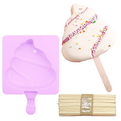 (Popsicle Ice Mold Maker Set - 1 Pack No BPA Reusable Ice Cream DIY Pop Molds Holders With Tray and 20 Wood Sticks Popsicles Maker Fun for Kids and Adults Best for Party Indoor and Outdoor)