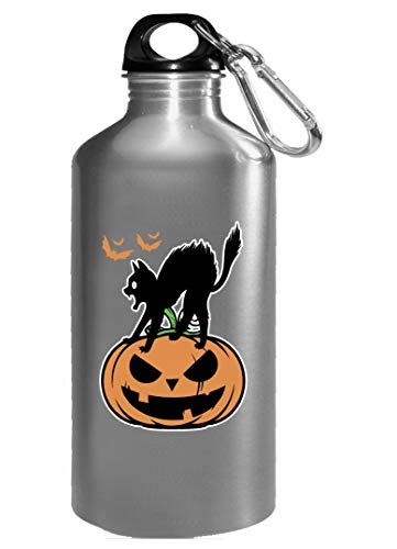 Black Cat on Halloween night scary pumpkin funny Gift - Water Bottle