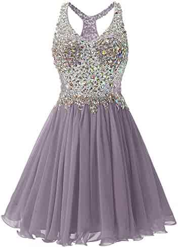 fdb00997d33 A line Short Homecoming Dresses for Juniors Sleeveless Lace Party Dresses  Children Beaded Sash Backless