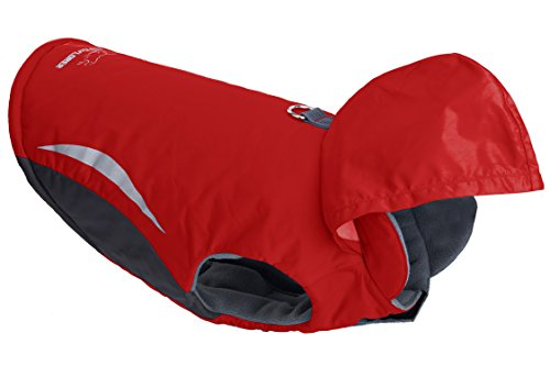 Waterproof Dog Coat with Hood - Windproof Sport Dog Clothes Winter Hoodies for Cold Weather, Red, for Medium Dog