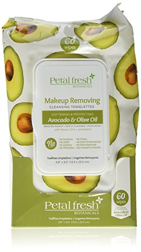 Olive Oil Facial - Petal Fresh Brightening Avocado & Olive Oil Softening Plus Protecting Facial Wipes, 60 Count